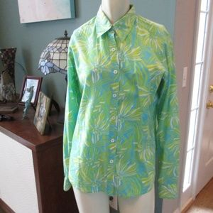Lilly Pulitzer Teal Lime Floral Blouse Shirt 8